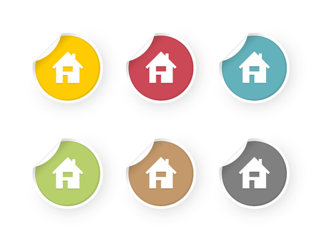 home icons colored stickers set
