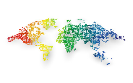 abstract colorful world map dotted graphic design Standard-Bild - 112177184