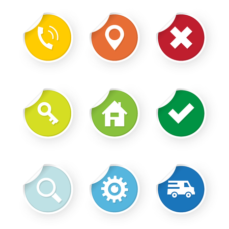 set of web icons colored stickers