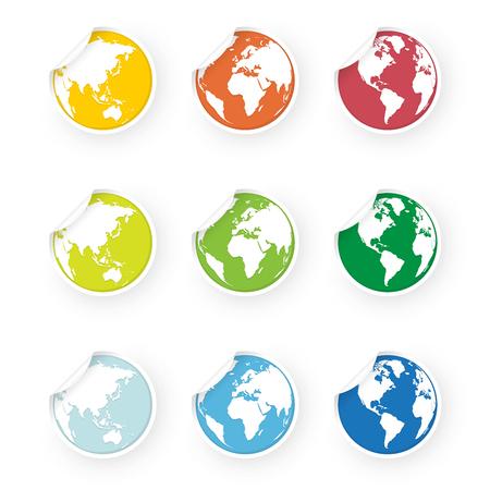 colored world globe icons stickers set Standard-Bild - 106229410
