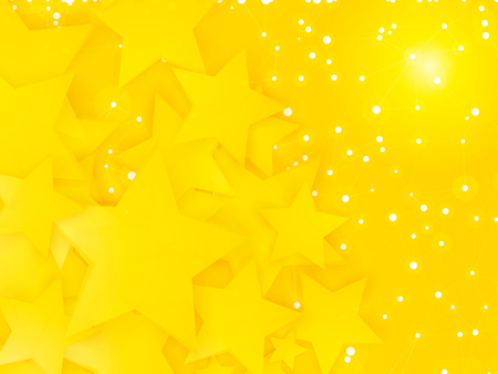 abstract space party pattern with yellow stars and white dots Standard-Bild - 106017635