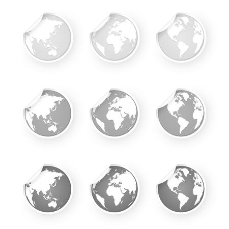 silver gray world globe icons stickers set Standard-Bild - 106229416