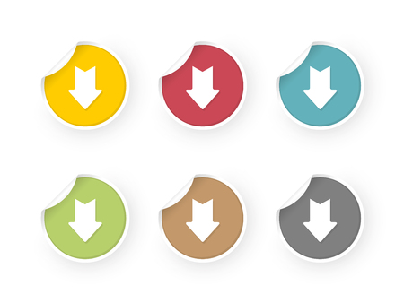 download icons colored stickers set Standard-Bild - 112177210