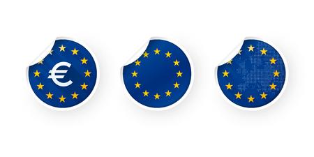 European Union, EURO, EU icons stickers set Standard-Bild - 106229418