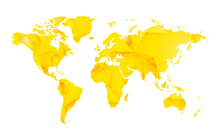 yellow star blank world map Standard-Bild - 107508209