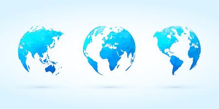 abstract blue circle globes vector set world planet earth Standard-Bild - 107508210