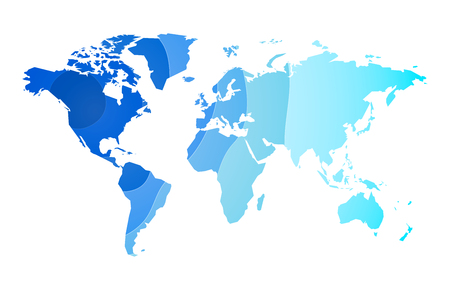 blue waves world map background Standard-Bild - 107508216