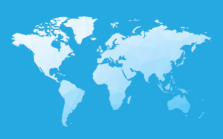 blue blank world map Standard-Bild - 107508217