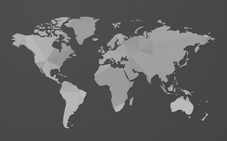 gray blank world map on black background Standard-Bild - 107508218