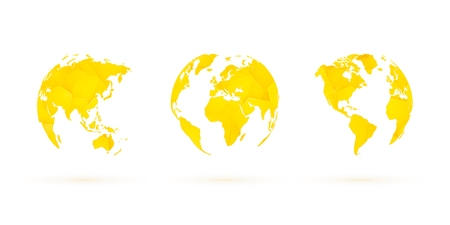 yellow geometric globes vector set world planet earth Standard-Bild - 107508219