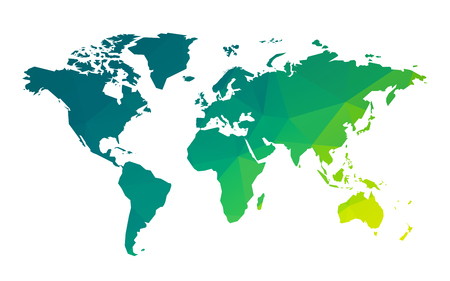 green geometric blank world map Standard-Bild - 107508221