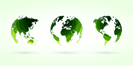 green circles globes vector set world planet earth Standard-Bild - 107508222