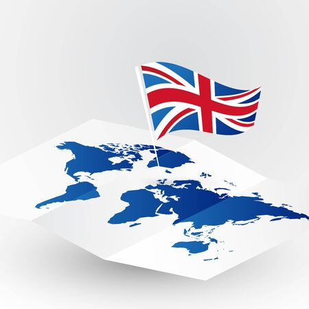 Great Britain flag on abstract world map  Illusztráció