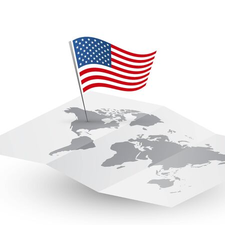 USA flag on blank vector world map abstract travel America concept  Çizim