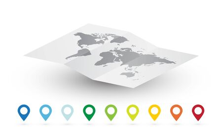 empty vector world map abstract travel concept and color pins