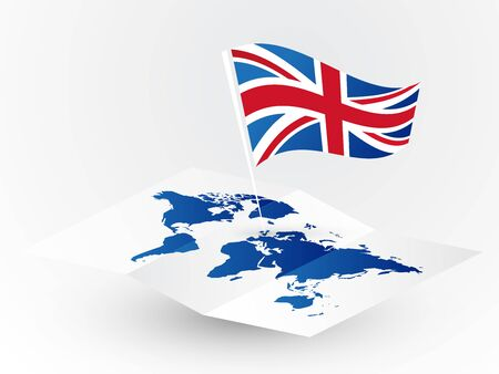 Great Britain flag on abstract blank world map traveling concept