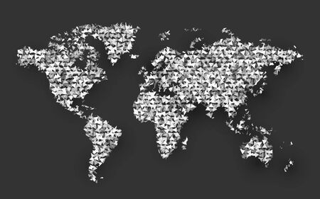 abstract world map composed of small triangle