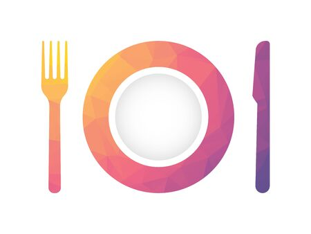 plate with fork and knife with geometric texture gastronomical theme