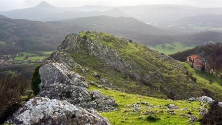 alava: Sanctuary of Virgen de Oro, in Alava, Basque Country, surrounding with mountains