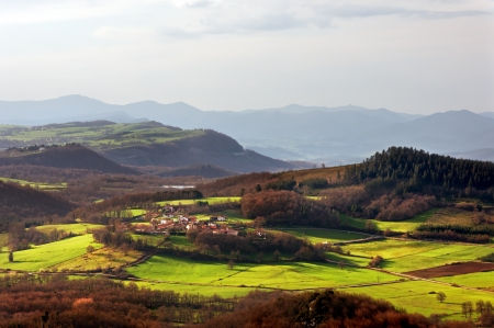 alava: Guillerna village in Zuia with sunset light  Alava, Basque Country
