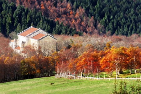 sanctuary of Urkiola in autumn. Basque Country, Spain