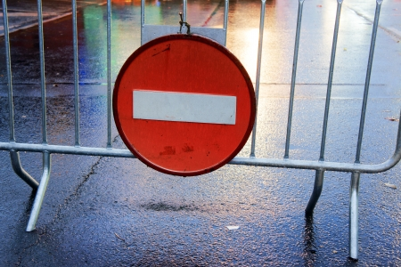 no entry sign: traffic sign about do not enter Stock Photo