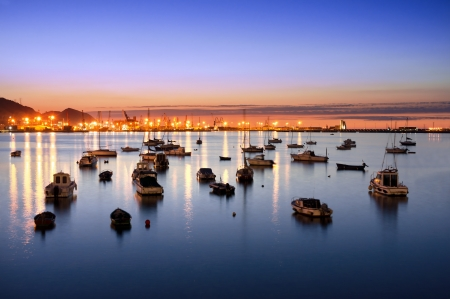 getxo port at night with yatchs and sailboats Stok Fotoğraf