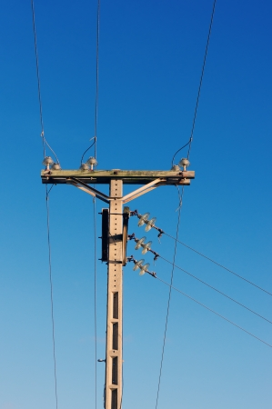 utility pole: utility pole against a blue sky
