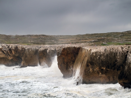storm and rough sea in Asturias cliffs photo
