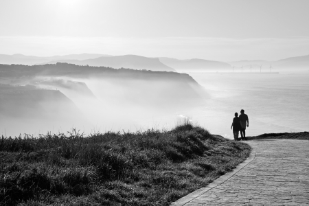 morning walk with sea mist
