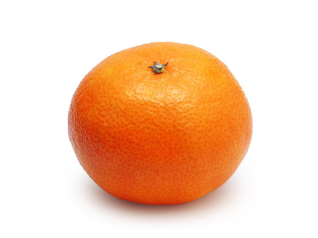 unpeeled tangerine isolated on white background