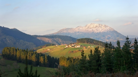 alava: aramaio valley with some villages surrounding mountains in Basque Country