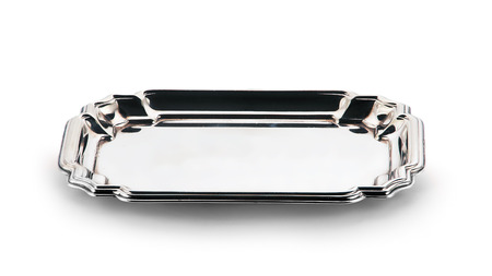 empty silver tray isolated on white background