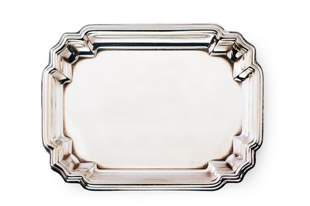 silver tray: empty silver tray isolated on white