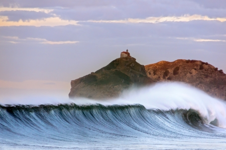 the basque country: Huge wave breaking. Bakio. Basque Country