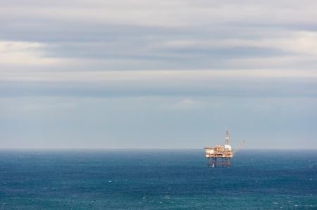 oil rig drilling platform on sea in Bermeo photo