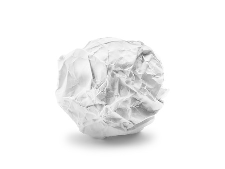 ball lump: Crumpled paper ball isolated on white background Stock Photo