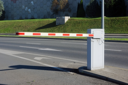 road barrier: Vehicle security barrier on parking