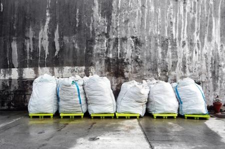 white plastic bags at harbour Standard-Bild