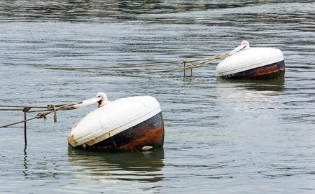 boyas: Boyas oxidadas en el agua del puerto con cuerdas
