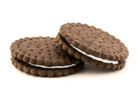 Chocolate cream cookies isolated on white background photo