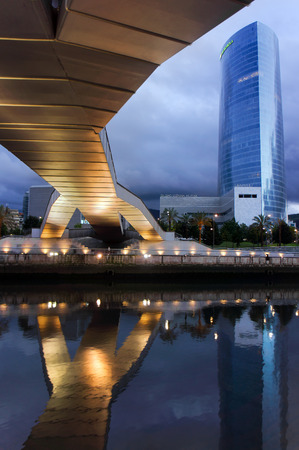 BILBAO, SPAIN - JULY 15:  Iberdrola Tower at night on July 15, 2012 in Bilbao, Spain.The tower was inaugurated in 2012 and is the highest building in Bilbao