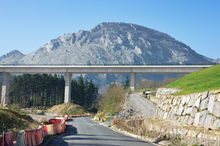 environment damage: tav viaduct construction in basque country with environment damage Stock Photo