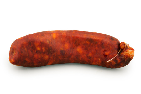 spanish sausage isolated on white photo