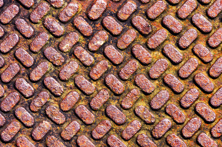 background with metallic and rusty textures on sewer photo