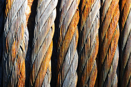 background with rusty steel cables photo