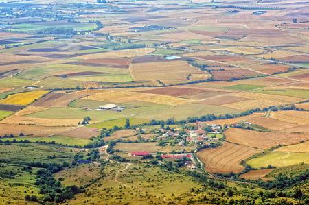 small village on Alava fields. High angle view Standard-Bild