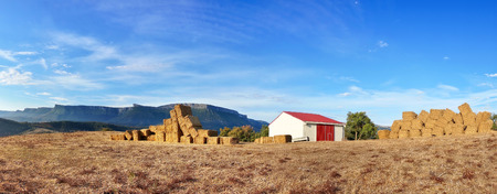 panorama with farm and bales photo