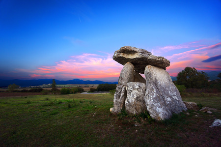 Dolmen of Sorginetxe at twilight Stok Fotoğraf