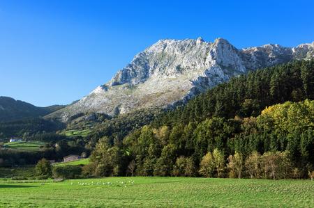 Atxondo valley with the anboto mountain